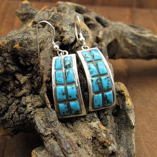 Southwest Sterling Silver and Turquoise Dangle Earrings