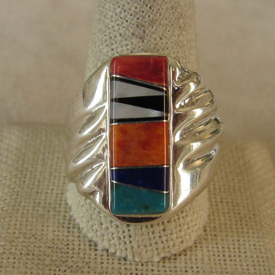Sterling Silver Inlaid Men's Ring Size 12.25 Signed TL