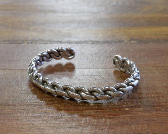 Vintage Southwestern Sterling Silver Braided Cuff Bracelet