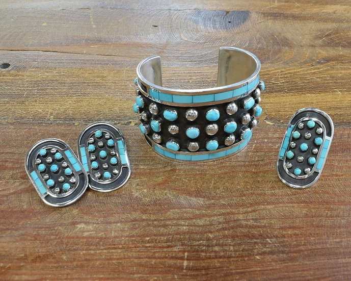 Zuni Sterling Silver & Turquoise Bracelet, Ring, and Earrings by Jobeth Mayes
