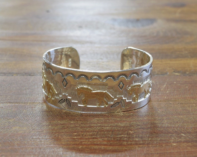 Sterling Silver and 14K Gold Overlay Horse Bracelet by Fortune Huntinghorse