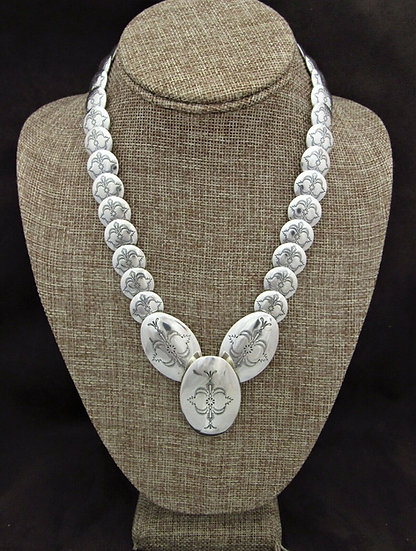Sterling Silver Stamped Pillow Bead Necklace
