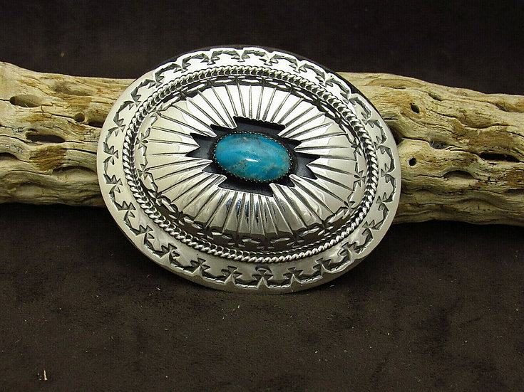 Navajo Turquoise Shadowbox Sterling Silver Belt Buckle