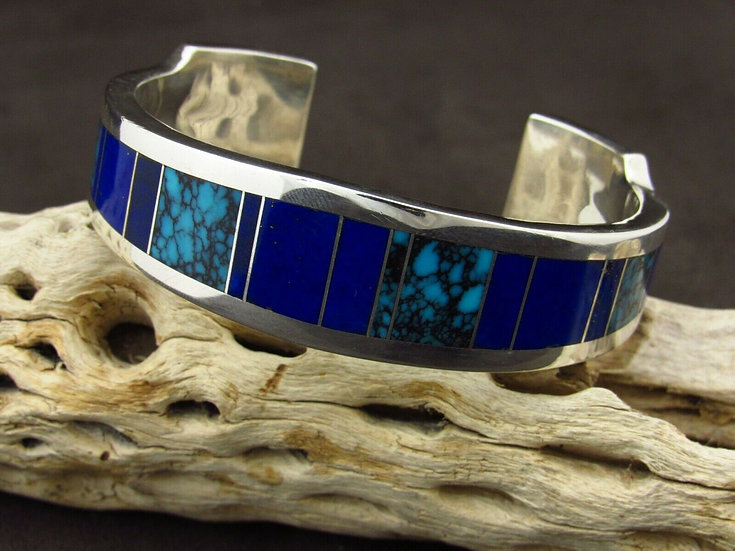 Heavy Sterling Silver Turquoise and Lapis Cuff Bracelet