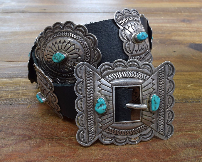 Vintage Navajo C.O. Lee Sterling Silver and Turquoise Concho Belt