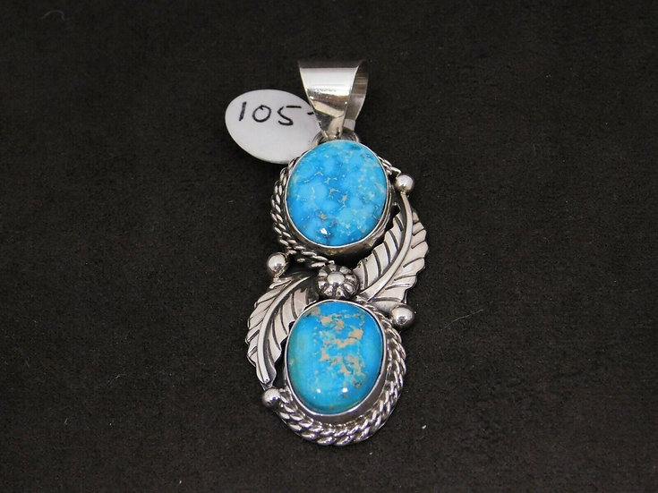 Sterling Silver Feather and Turquoise Pendant