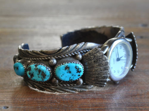 Vintage Navajo Sterling Silver And Turquoise Watch Bracelet