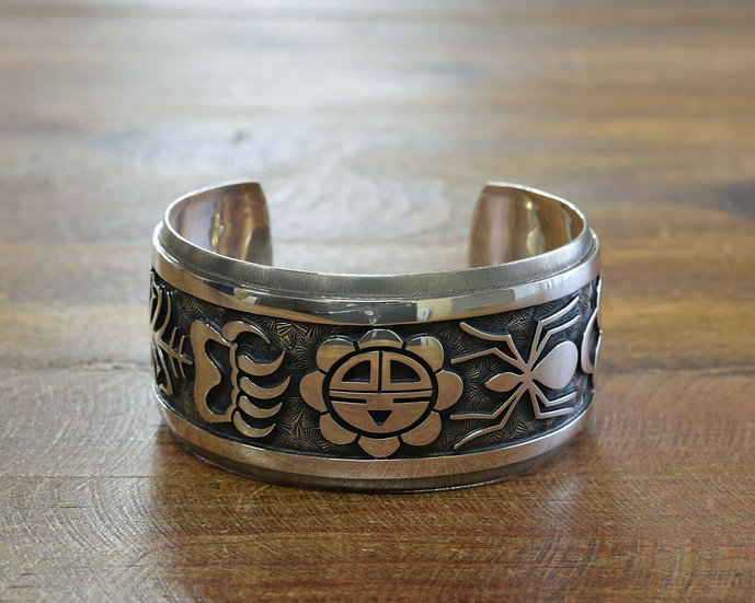Sterling Silver Hopi Overlay Cuff Bracelet by Lendrick Lomayestewa