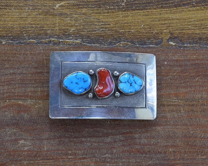 Vintage Navajo Turquoise and Coral Sterling Silver Belt Buckle