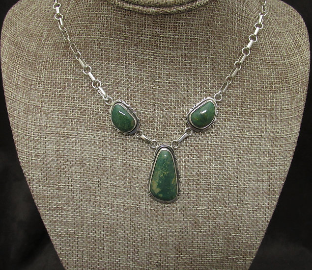 Sterling Silver and Green Turquoise Navajo Necklace by JA Smith