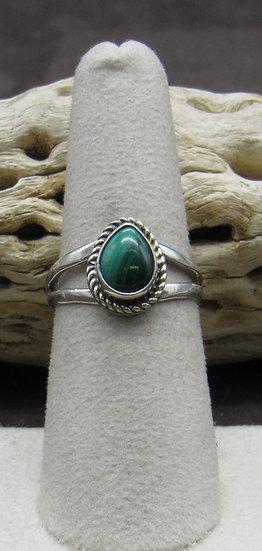 Teardrop Malachite Sterling Silver Ring Size 7
