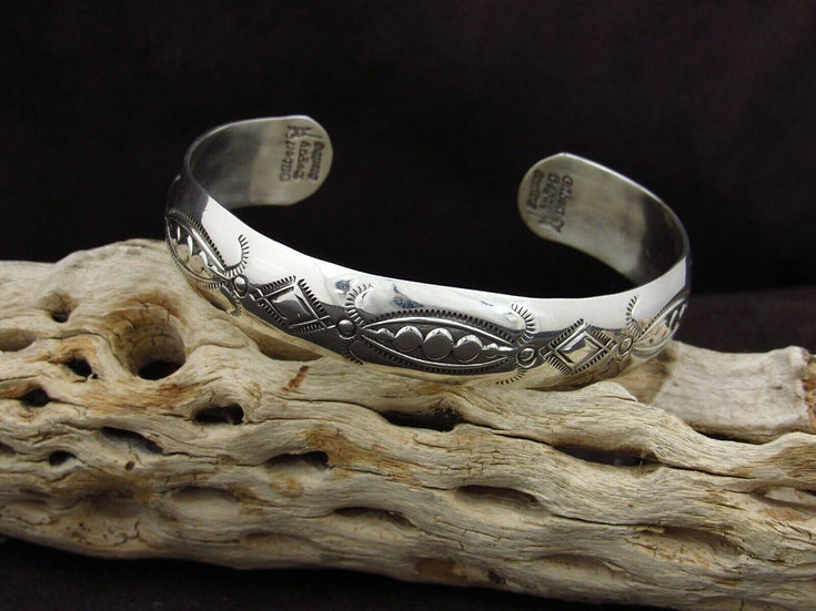 Sterling Silver Stamped Cuff Bracelet