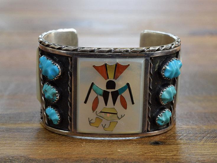 Vintage Zuni Sterling Inlay Crown Dancer Bracelet By Florentine & Lela Panteah