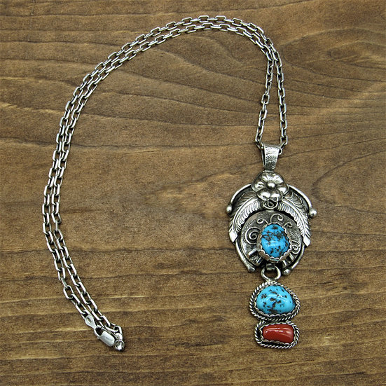Vintage Navajo Turquoise and Coral Sterling Silver Pendant with Chain