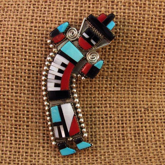 Zuni Multi Stone Inlay Sterling Silver Yei Pin/Pendant