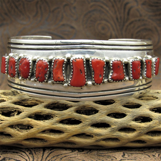 Sterling Silver and Red Coral Cuff Bracelet