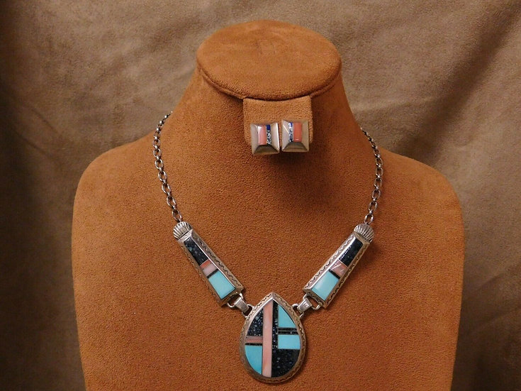 Navajo Sterling Silver Multi Stone Inlay Necklace and Earrings Set