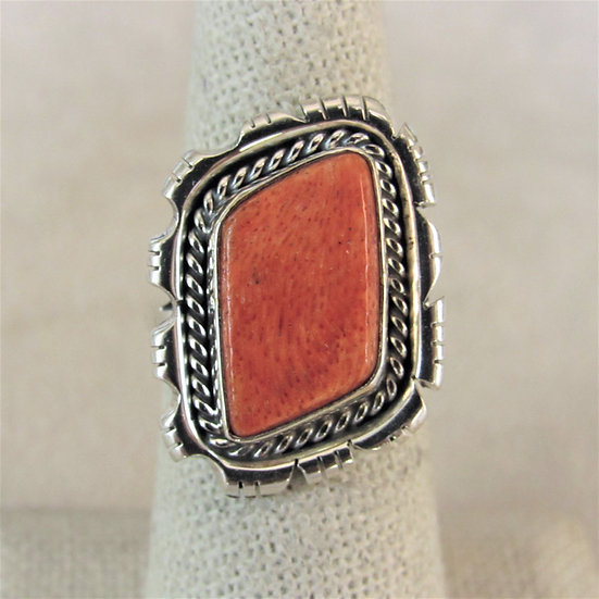Sterling Silver and Sponge Coral Size 7 Ladies Ring by Andrew Vandevere