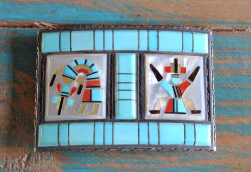 Vintage Zuni Sterling Silver Inlay Yei belt buckle, Florentine And Lela Panteah