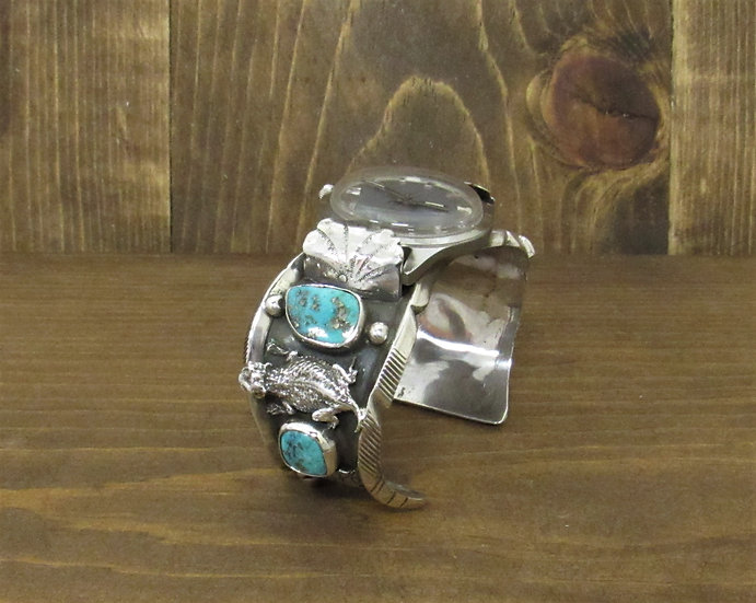 Vintage Horned Toad Sterling Silver and Turquoise Watch Cuff