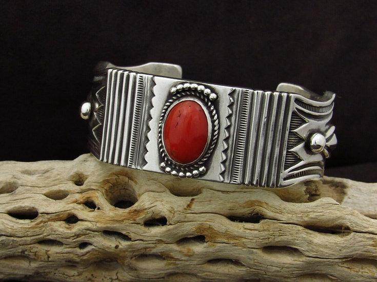 Heavy Sterling Silver Coral Cuff Bracelet