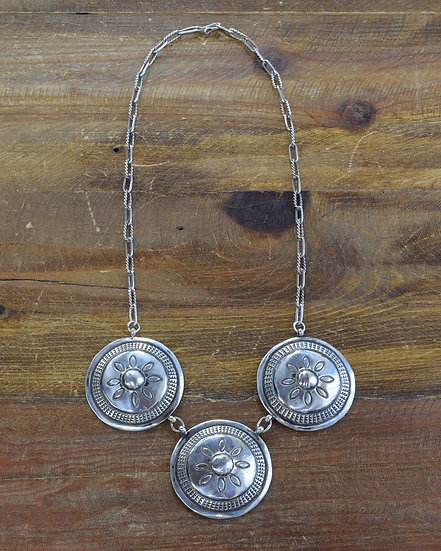 Vintage Southwestern Sterling Silver Concho Necklace