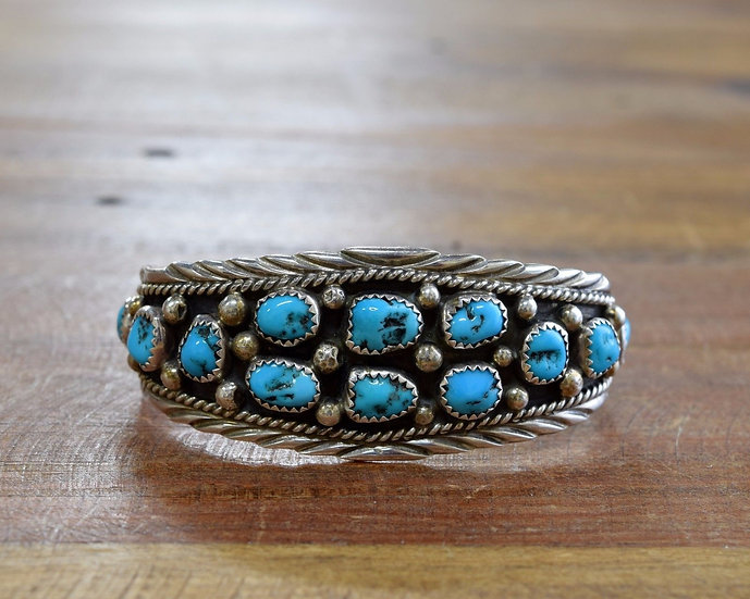 Navajo Sterling Silver Cuff Bracelet with 11 Turquoise Stones