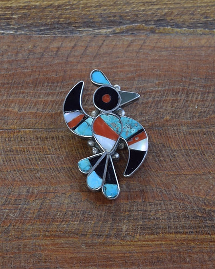 Southwest Sterling Silver Thunderbird Inlay Pin