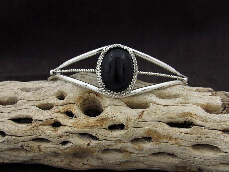 Sterling Silver Oval Onyx Cuff Bracelet