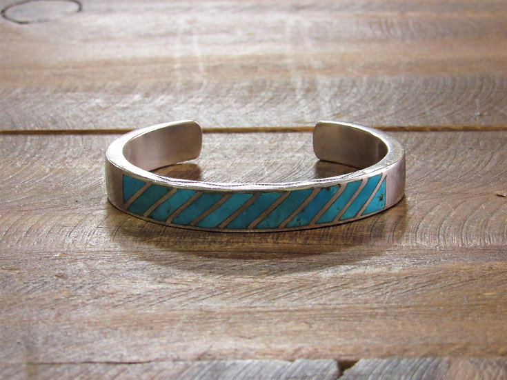 Vintage Navajo Turquoise Inlay Sterling Silver Cuff Bracelet