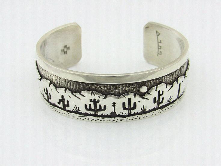 Sterling Silver Overlay Desert Scene Cuff Bracelet by Rick Manuel