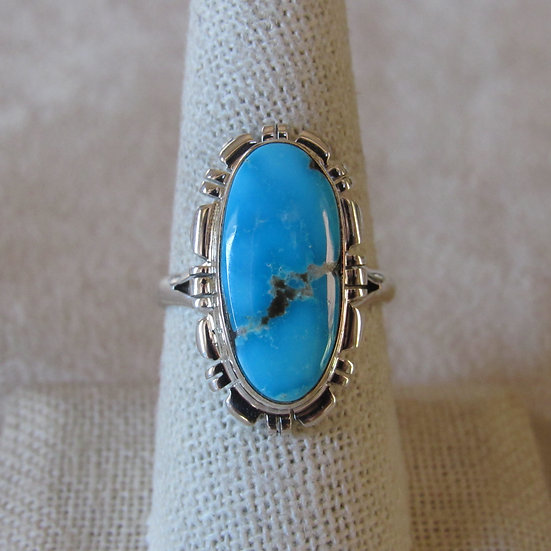 Southwest Sterling Silver and Beautiful Turquoise Ladies Size 9