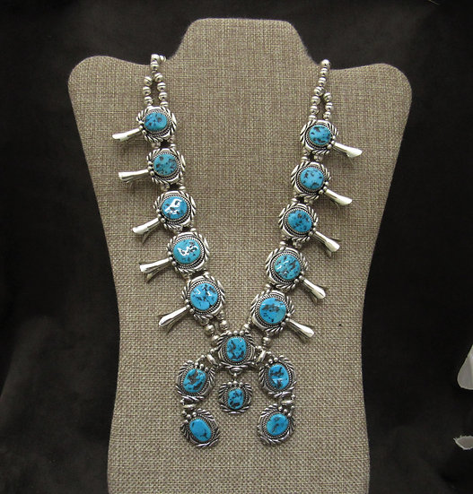 Sterling Silver Turquoise Navajo Squash Blossom Necklace