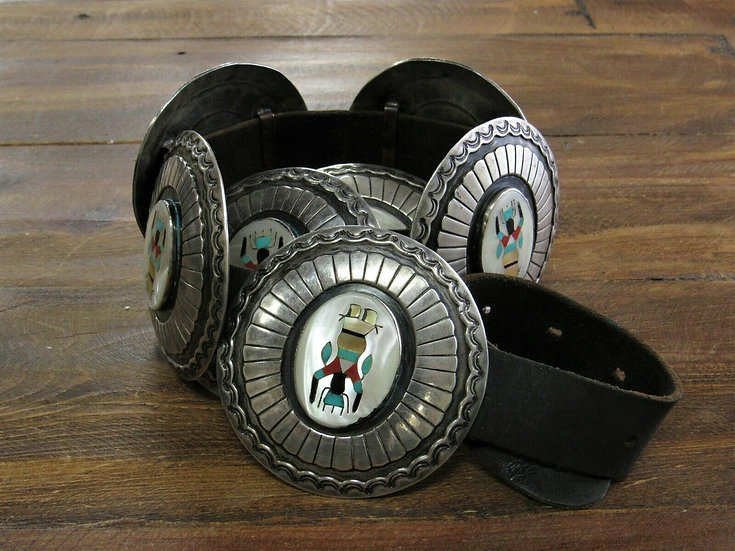 Vintage Navajo Apache Crown Dancer Inlay Concho Belt by Charlie Mike Yazzie