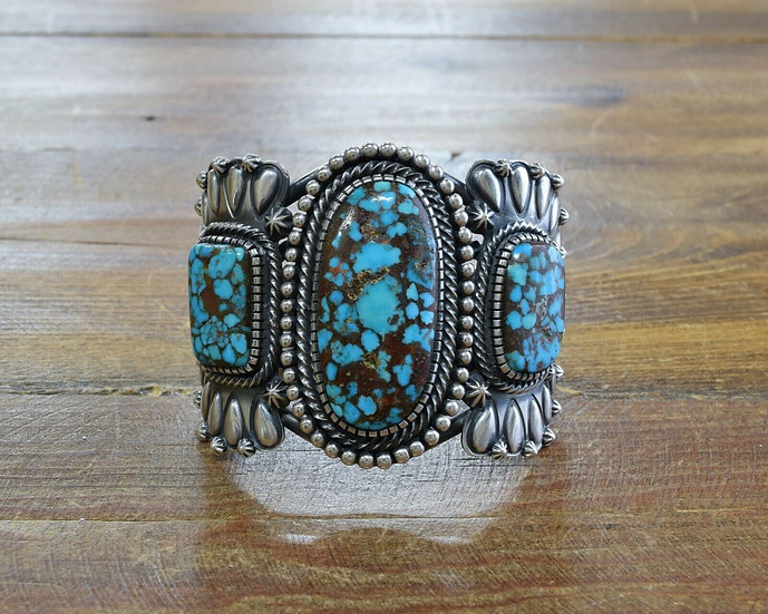 Three Stone Turquoise Sterling Silver Cuff Bracelet