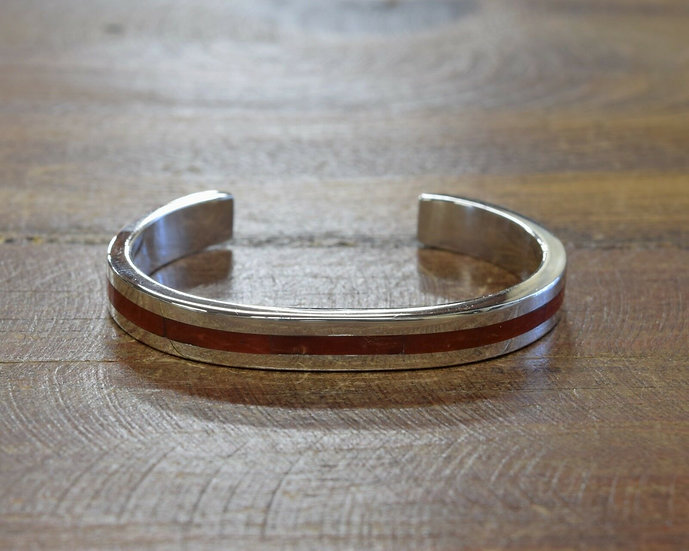 Sterling Silver Coral Inlay Cuff Bracelet By Tim Yazzie