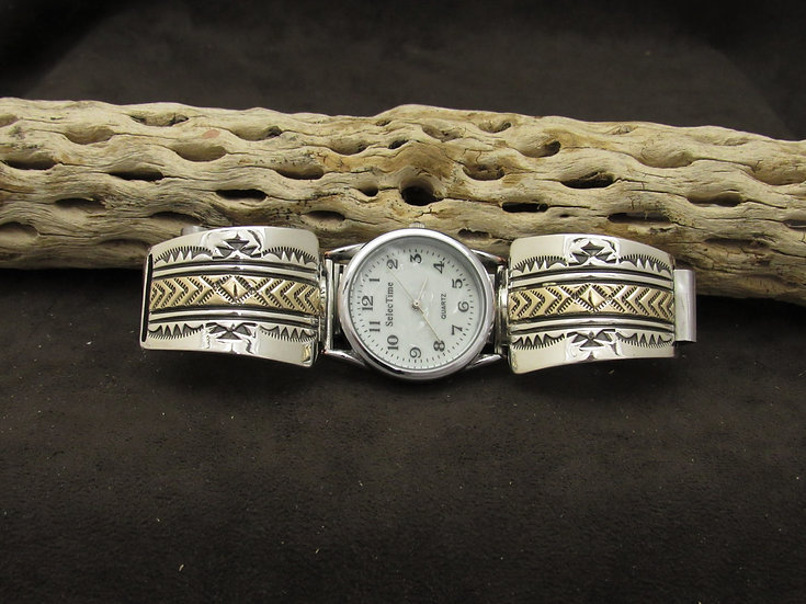 Sterling Silver Watch Band with Gold Overlay by Bruce Morgan