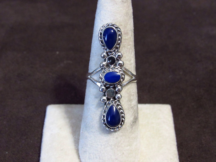 Southwest Sterling Silver and Lapis Ladies Ring Size 7