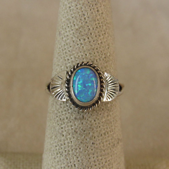 Sterling Silver and Lab Opal Ring Size 6.25 by Jan Mariano