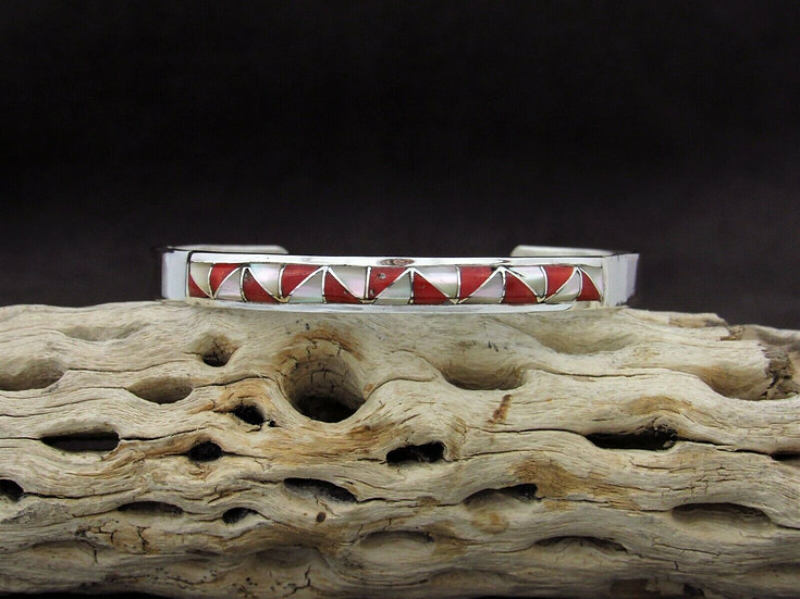 Sterling Silver Coral and Mother of Pearl Inlay Cuff Bracelet