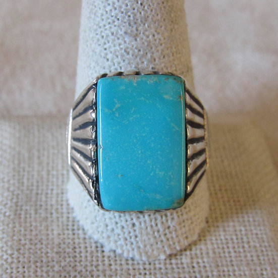 Beautiful Sterling Silver and Turquoise Men's Southwest Ring Size11.75