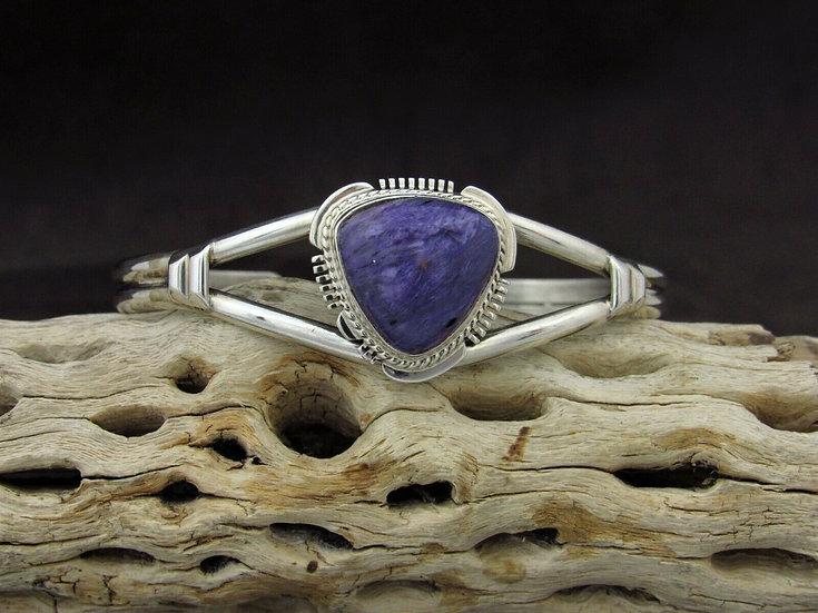 Sterling Silver Triangle Charoite Cuff Bracelet