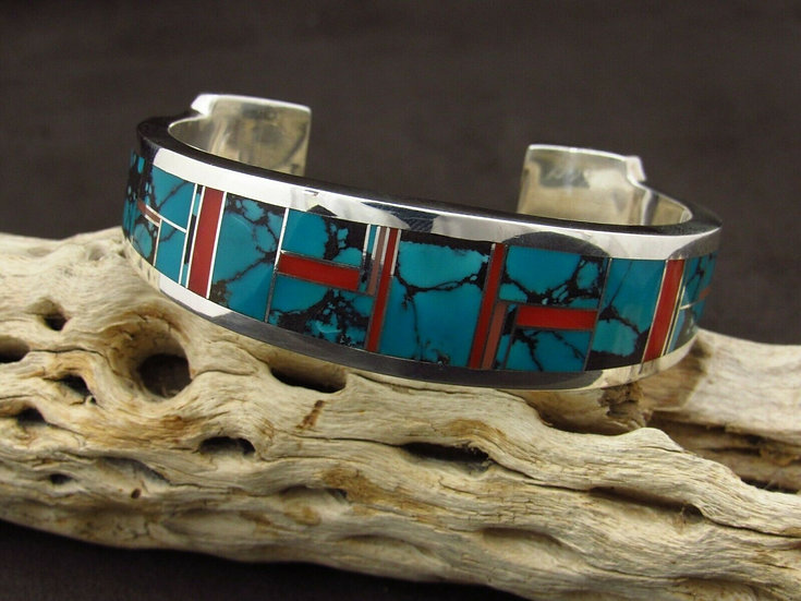 Sterling Silver Coral and Turquoise Cuff Bracelet