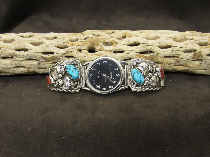 Southwestern Turquoise and Coral Sterling Silver Watch Band