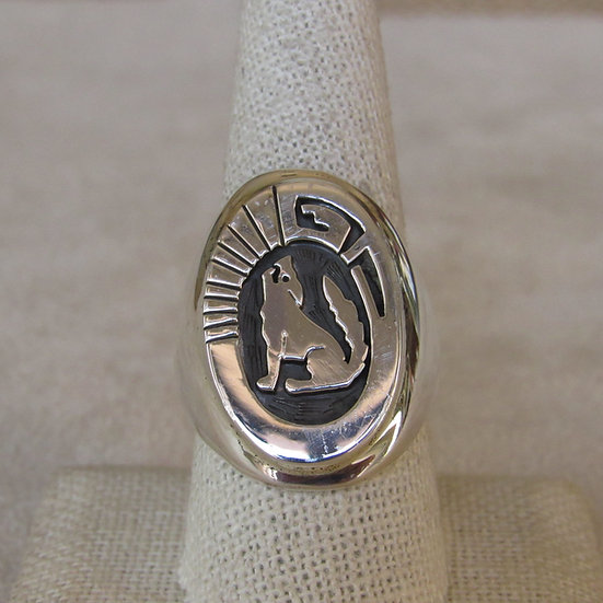 Sterling Silver Coyote Ring by Calvin Peterson  Size 9.75