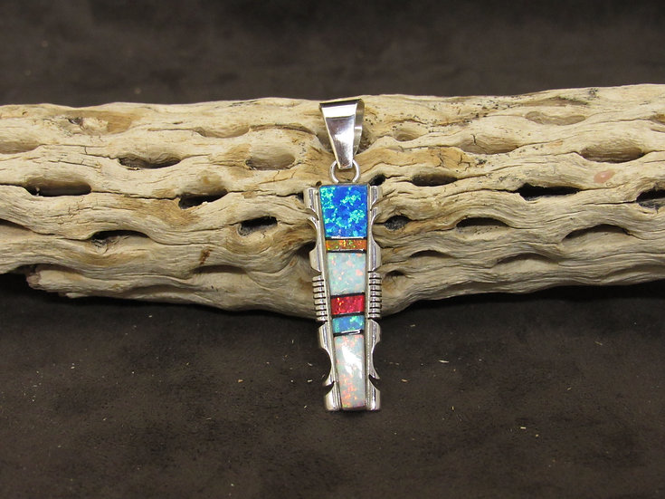 Navajo Sterling Silver Lab Opal Inlay Pendant by Steeve Francisco