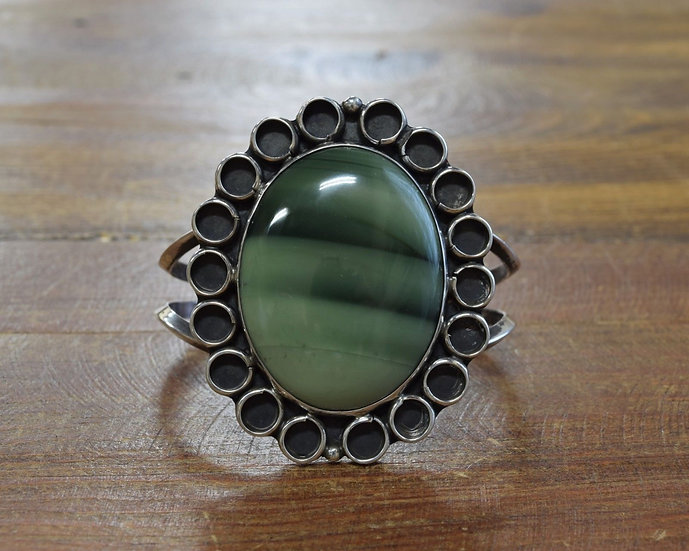 Vintage Southwestern Sterling Silver and Green Agate Cuff Bracelet