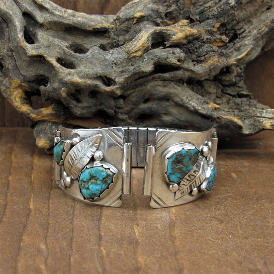 Vintage Sterling Silver Four Turquoise Stone Watch Band With Leaf Design