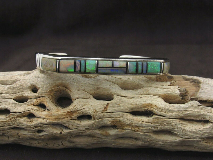 Sterling Silver Lab Created Opal and Jet Inlay Cuff Bracelet