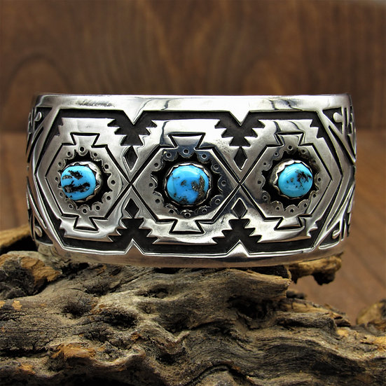 Intricate Sterling Silver and Turquoise Overlay Southwest Cuff Bracelet